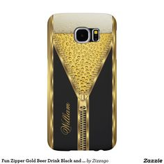 Fun Zipper Gold Beer Drink Black and Gold Samsung Galaxy Cases