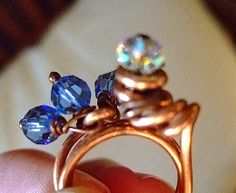 Pure Copper Ring with Crystals for Women by MereTrinkets, $17.00