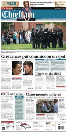 Sunday, July 28, 2013 Chieftain front page