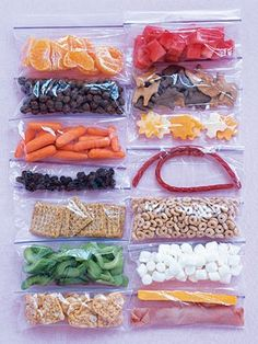 Great idea in keeping portion control when snacking. Keep these little snacks portioned out and handy for when you feel the urge to snack! Could make each bag 100 cal. or something
