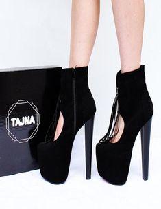 2df51c07f9c Black Fringe Booties 19 - 20 cm Heel Platforms Daisy Duke Shorts