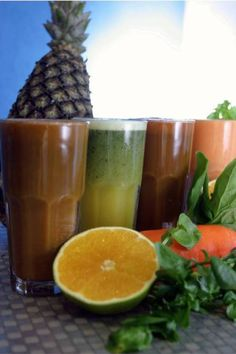 Sucos de espinafre e laranja; milho-verde; tomate; couve com laranja e gengibre