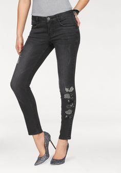 Damen Arizona Skinny-fit-Jeans mit Stickerei und Destroyed Effekten schwarz    04897078993145 - 104d9255dc