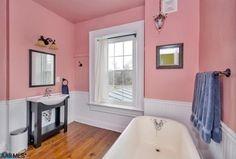 Home Improvement Archives Small Bathroom Paint, Bathroom Photos, Master Bathroom, Bathroom Ideas, Pink Bathrooms Designs, Floating Sink, Vessel Sink Vanity, Deep Soaking Tub, Black Granite Countertops