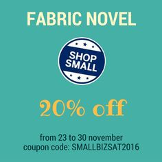 20% off from 23 to 30 november. Shop small!!!