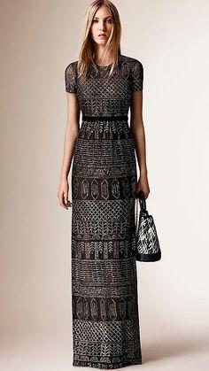 Black Floor-Length Embroidered Mesh Dress - Image 5