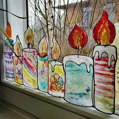 Fensterbild Stifte Transparentpapier Schule Deko Kunst