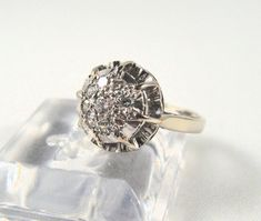 Stamped French Platinum 18K Solid Gold Cluster Diamond Engagement Ring Pavé Bridal ring Stamped gold jewelry Fine gold jewellery 1950s