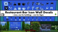 Restaurant/Bar Icon Wall Decals Pack by Bakie at Mod The Sims • Sims 4 Updates