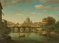 Rome from the Tiber: St. Peter's and Castel Sant'Angelo, William Marlow