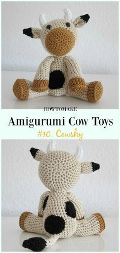 Crochet Cowshy Amigurumi Free Pattern- #Amigurumi #Cow Toy Plushies Free Crochet Patterns