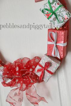 Pebbles and Piggytails: Making Life Meaningful: Gift Box Wreath Tutorial. Easy #Christmas #wreath!!
