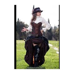 Ready to Ship 3 pc. Steampunk Victorian Corset Double Bustle Skirt,... ($135) ❤ liked on Polyvore featuring costumes, cosplay costumes, gothic lolita costume, gothic halloween costumes, gothic costumes and brown costume