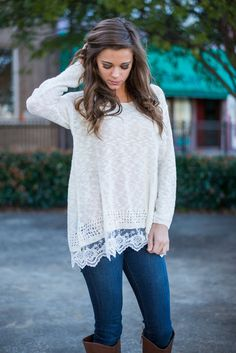 """""""Lace Trim Sweater - Ivory"""" Everyone loves lace! Whether it's a solid lace top or cozy top with a precious lace trim! #newarrivals #shopthemint"""