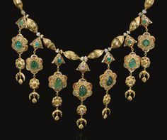 A gem-set gold necklace (lebba) and earrings, Morocco, circa century Moroccan Jewelry, Ethnic Jewelry, Indian Jewelry, Antique Jewelry, Vintage Jewelry, Handmade Jewelry, Royal Jewelry, Gold Jewelry, Jewelery