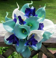 Calla Lily Bouquet Tiffany Blue Bouquet Blue by SilkFlowersByJean, $99.00