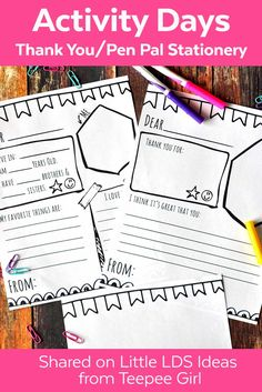 LDS Activity Days Ideas. Get these cute Activity Days thank you and pen pal stationery letters today at www.LittleLDSIdeas.net via @https://www.pinterest.com/littleldsideas/