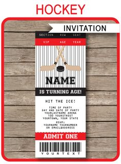 Instantly download Hockey Party Ticket Invitations. Personalize the printable template easily at home & send your Hockey Birthday Party invitations out now!