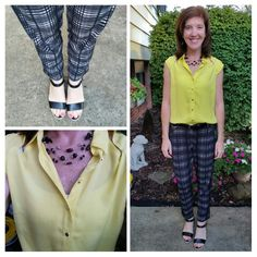 Printed soft pants, yellow top, black wedges, summer outfit