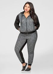 Coming And Going Mélange Jacket-Plus Size Hoodie-Ashley Stewart Look Plus Size, Trendy Plus Size, Plus Size Tops, Plus Size Women, Ashley Stewart, Grey Sports Leggings, Cute Workout Outfits, Sport Outfit, Gym Clothes Women