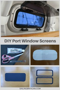 NEW: How to save money making your own port window screens for only $2 each. The first line of defense when combating the war against no-see-ums and mosquitos is having screens on all your windows. Here's an article and video to show you how to make your own screens. by SailingBritican.com Cabin Cruiser Boat, Sailboat Restoration, Boat Organization, Liveaboard Sailboat, Boating Tips, Sailboat Interior, Sailboat Living, Boat Decor, Boat Safety