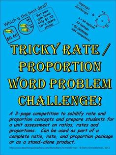 This is a one page printable classroom tested organizational proportion word problems platinumwayz