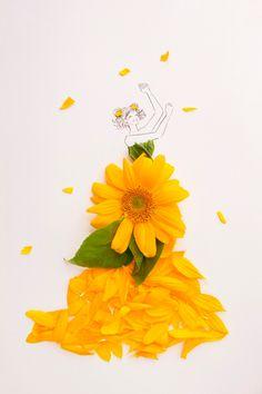 Unique Drawings, Art Drawings, Flower Petals, Flower Art, Fashion Illustration Dresses, Creative Pictures, Anime Scenery, Flower Dresses, Amazing Art