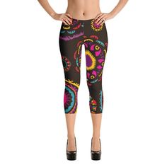 YOGA ART CAPRI Leggings - Bohemian Dark Chocolate Pants w/ Large Bright Mandalas - DANCE