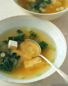 Miso Soup with Tofu and Kale:  Double wammy with miso and tofu, with scallions, ginger, garlic, greens (kale or seaweed), add shiitake mushrooms??  Superfood party (greens, beans, onions, mushrooms) and 2 servings of beans!!