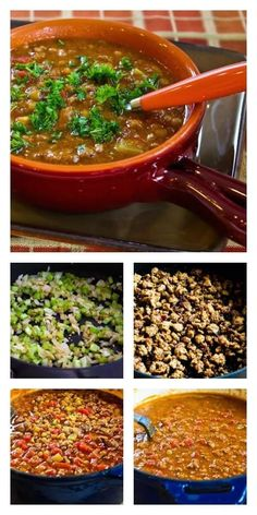 Spicy Sausage, Lentil, and Tomato Soup is delicious and comforting!  (Low-Carb, Gluten-Free) [from KalynsKitchen.com]