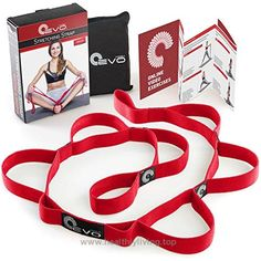 Yoga EVO Stretching Strap with 10 Elastic Loops + eBook & 35 Online Stretch Out Video Exercises – Yoga and Pilates Workouts (Cherry Red) – Health and Fitness Pilates Equipment, Fitness Equipment, No Equipment Workout, Yoga Fitness, Health Fitness, Exercises, Workouts, Yoga Strap, Pilates Workout