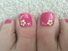 Another summer pedicure. another summer pedicure pedicure nail designs Flower Toe Nails, Pink Toe Nails, Pretty Toe Nails, Summer Toe Nails, Flower Nail Art, Pink Toes, Black Nails, Pink Pedicure, Pedicure Nail Art