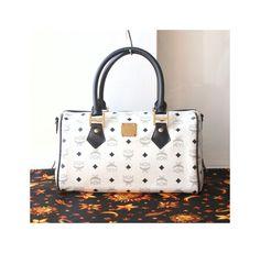 MCM Visetos White Navy Boston tote Handbag authentic vintage purse by hfvin on Etsy  #mcm #visetos #white #navy #boston #bag #tote #hfvin