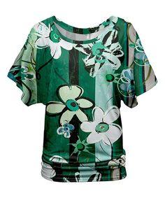 Green & White Floral Blouson Tunic - Plus Too