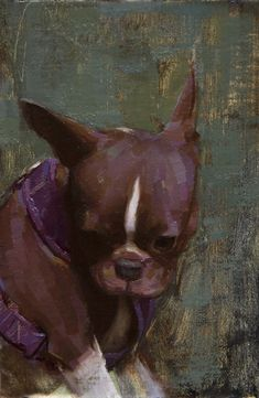 "Aaron Westerberg, ""Stella in Purple Harness"" 9x6 oil on panel"