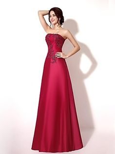 648aff9b18912 A-Line Strapless Floor Length Lace   Taffeta Vintage Inspired Formal  Evening Dress with Beading   Appliques   Lace