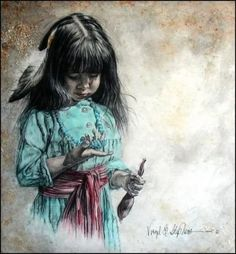 Beautiful Painting of a Native American Child ~ (Artist Unknown)