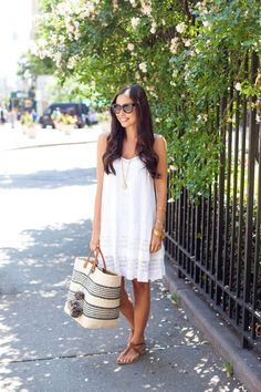 Cynthia Vincent White Lace Sundress and a Mar Y Sol Tote.