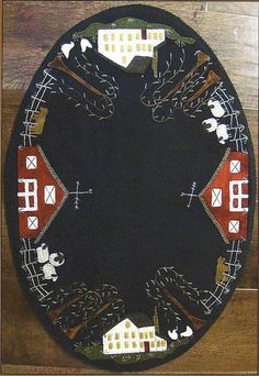 Primitive Folk Art Wool Applique Pattern:  SUMMER on the FARM