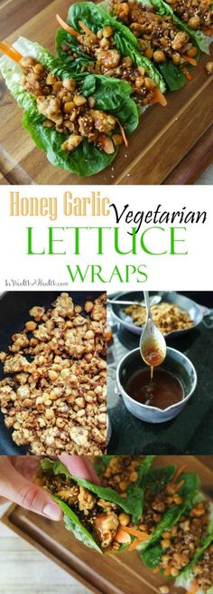 #Vegetarian Lettuce Wraps with Honey Garlic Glaze #vegan @HappyHealthyRD
