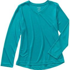 Danskin Now Girls' Long Sleeve Active Tee, Size: 4/5, Blue
