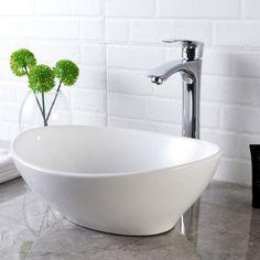Shop Above Counter White Porcelain Ceramic Bathroom Vessel Sink - Overstock - 31126668 Modern White Bathroom, Bathroom Red, Boho Bathroom, Modern Bathroom Design, Bathroom Interior, Small Bathroom, Bathroom Ideas, Master Bathroom, Bathroom Designs