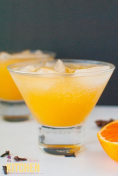A delicious blend of fresh clementine juice, homemade clove simple syrup, vodka, and ginger beer.