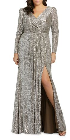 Plus Size Sequin V-Neck Long-Sleeve Column Gown w/Thigh Slit by Mac Duggal at Neiman Marcus Dresser, Plus Size Party Dresses, Mode Plus, Full Length Gowns, Long Sleeve Gown, Sequin Gown, Mac Duggal, Types Of Dresses, Plus Size Wedding