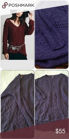 Free people sweater New never worn, periwinkle shade. Frayed hem design with loose stitching, so this can be worn in the spring because its a light sweater, oversized look. Free People Sweaters