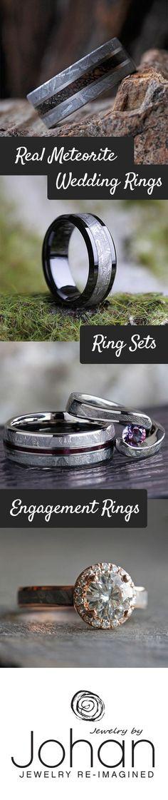 Unique Wedding Bands made with Genuine Meteorite