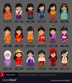 Find Asian Girls National Dress Set Asian stock images in HD and millions of other royalty-free stock photos, illustrations and vectors in the Shutterstock collection. Thousands of new, high-quality pictures added every day. People Illustration, Flat Illustration, Fantasias Country, Country Costumes, Pretty Blonde Girls, School Costume, Westerns, Costumes Around The World, Thinking Day