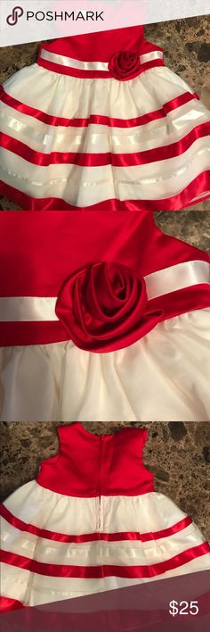Beautiful Dress for Baby ❤️ Gorgeous red and white dress for baby! Striped skirt with rose accent. Worn once, EUC Bonnie Baby Dresses Formal
