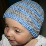 Sweet toddler crochet hat with blue and grey bars