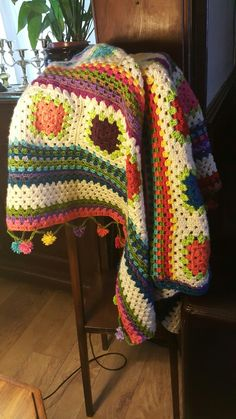 indie blanket with pompoms